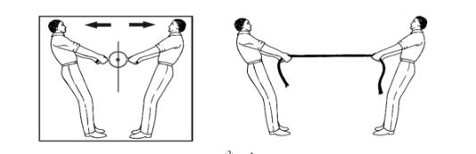 رسم يوضح القانون الثالث للحركة